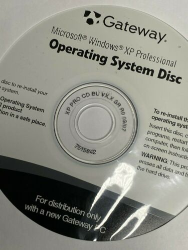Disc Gateway Microsoft Windows XP Operating System