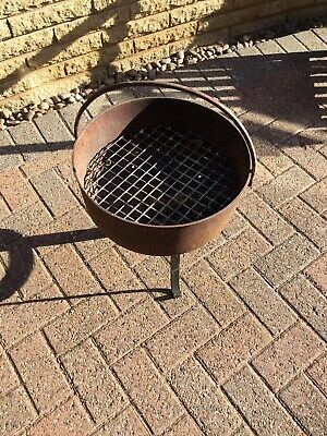 Antique Steel Couldron And Stand