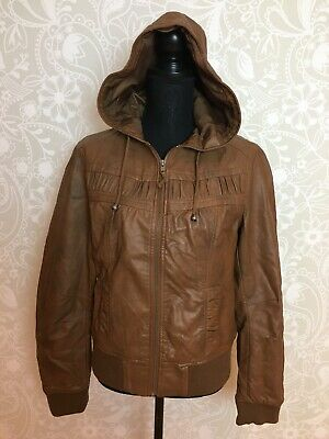 90s retro style bomber jacket, faux leather with hood, gorgeous! s14.