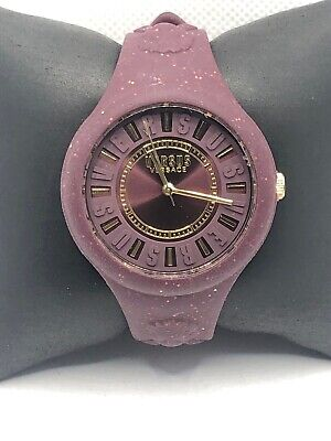 Versus Versace VSPOQ0518 Women's Red Silicone Analog Burgundy Dial Watch KS454