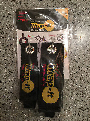 Lot Of 4 Wrap-it Heavy Duty Storage Straps To Hang Items On Hooks Pegboard