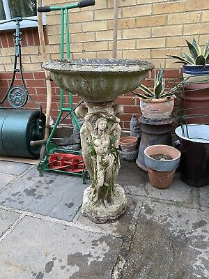 Vintage Re-claimed Heavy Decorative Stone Bird Bath Well Weathered