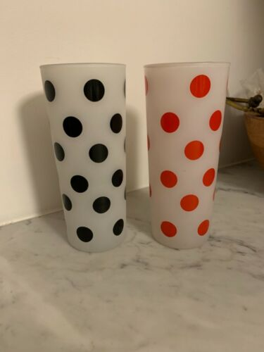 Fire King Anchor Hocking Set of 2 Frosted Red And Black Polka Dot Glasses
