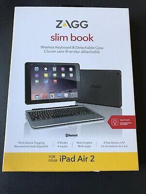 ZAGG Slim Book Case Hinged Detachable Bluetooth Backlit Keyboard iPad Air 2 (h1)