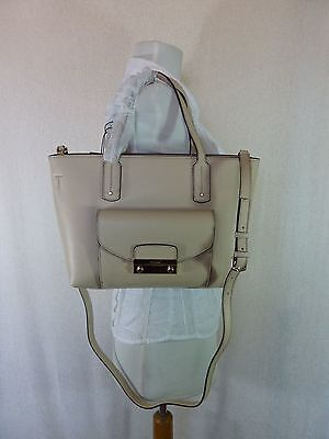 NWT FURLA Acero Beige Pebbled Leather Small Julia Tote Bag $368 - Made in Italy