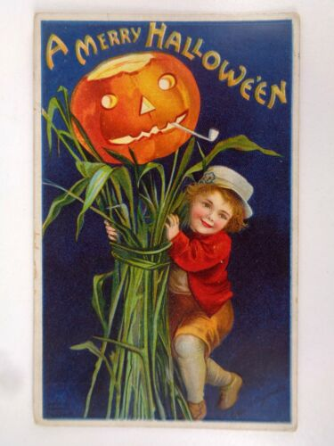 Vtg Clapsaddle Merry Halloween Postcard Boy JOL Stalk Series 978
