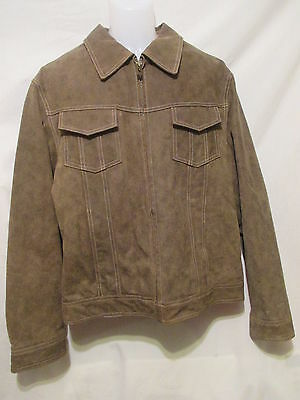 GUESS Men's Lined Leather Jacket L Large Brown Full Zip Front Snap Cuffs Warm