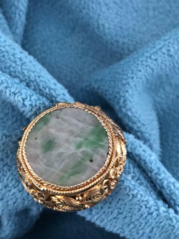 Antique Jade 'poison' Ring Filgree Size 7