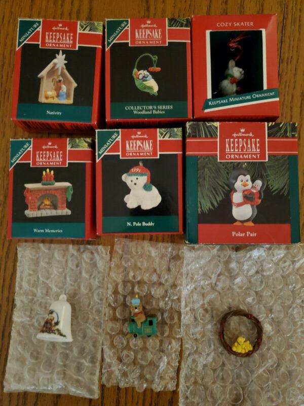 Hallmark Miniature Keepsake Ornaments Collectible Christmas Ornament 1990s Lot