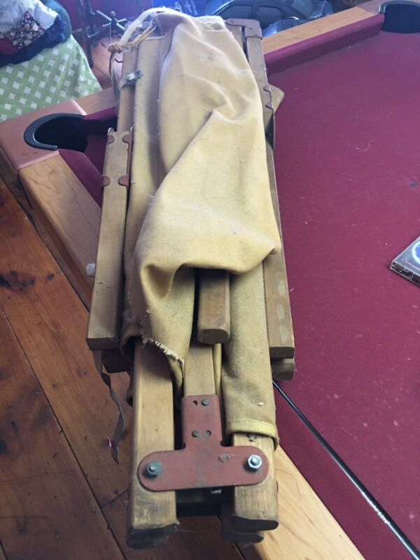 Vintage Army Green Canvas Military Cot Wood Frame