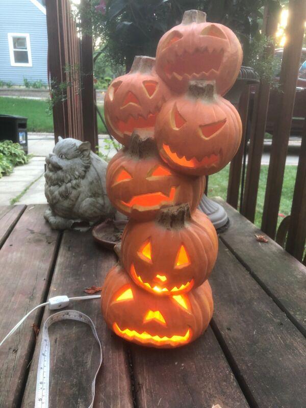 "VTG-Trendmasters Halloween Jack O' Lantern  🎃Lighted Foam Totem 🎃 18"""