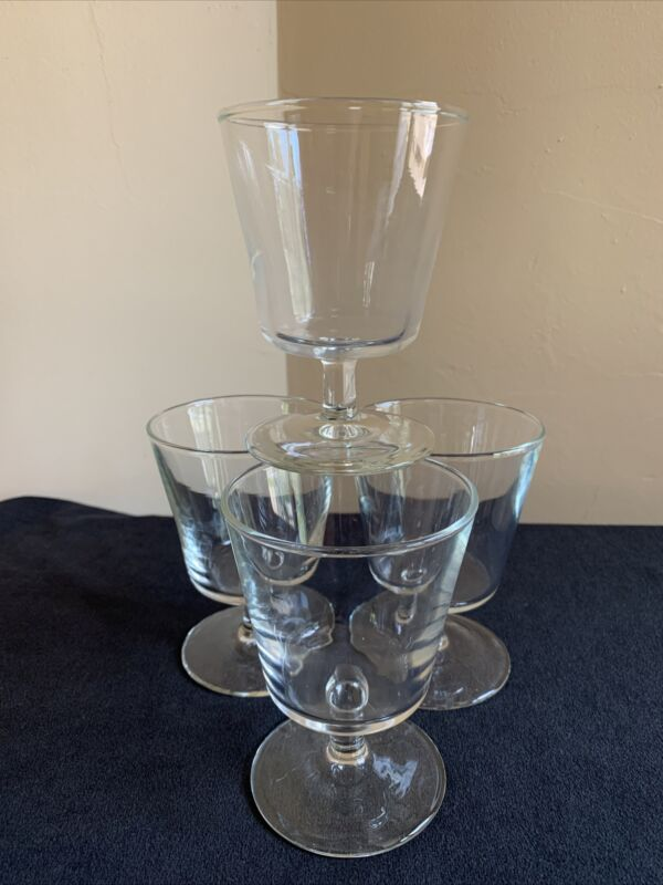 SET OF 4 Vintage 6-ounce Footed Parfait or Old Fashioned Cocktail Glasses; EUC!