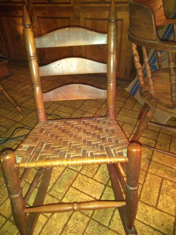Antique,1800s Childs Ladder Back Woven Seat Rocker