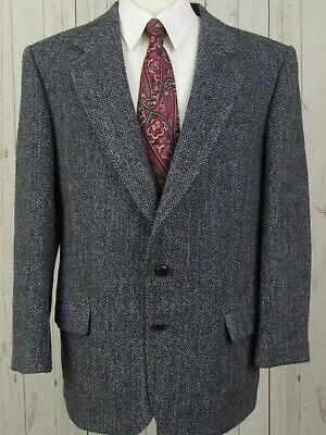 Harris Tweed Wool Men Grey 44R Two Button Sport Coat Blazer Jacket