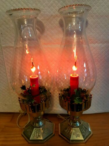 2 VINTAGE NOMA HURRICANE CANDLE LAMPS FLICKERING FLAME BOTH EXCELLENT CONDITION