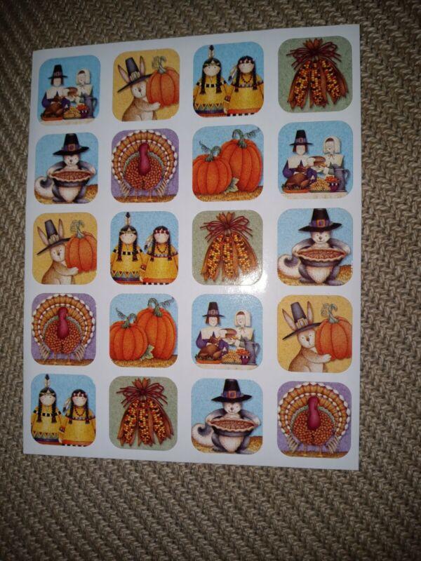 Debbie Mumm Stickers Thanksgiving 1 sheet Turkey Pumpkin Pilgrim Animals