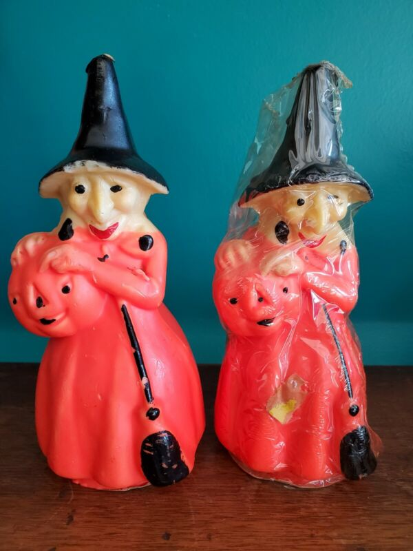 "Lot of 2 Vintage 50-60s GURLEY 8 1/4"" Candle HALLOWEEN WITCH W/ PUMPKIN & BROOM"