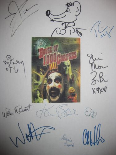 House of 1000 Corpses Signed Film Script X11 Rob Zombie Sid Haig Bill Moseley rp