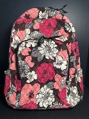 Vera Bradley Mocha Rouge travel bag Back Pack GREAT CONDITION pink brown white