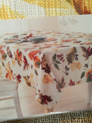 "Tablecloth Fall Leaves Fabric 60"" x 84"" Oblong Shaped New"