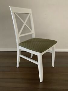 Ornate White Desk Chair with Green Patterned Upholstery