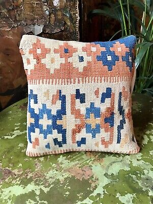 Vintage Kilim Covered Feather Filled Cushion Turkish/Moroccan/Afghan (No.15)