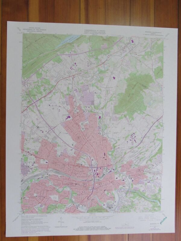 Roanoke Virginia 1978 Original Vintage USGS Topo Map