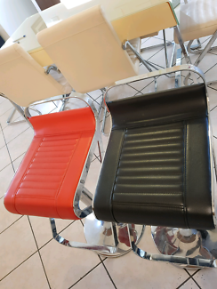 Black and red bar chairs