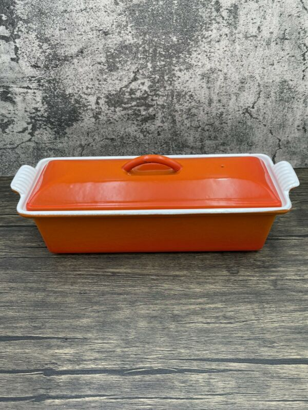 Le Creuset Cast Iron France #28 Pate Terrine Bread Loaf Pan - Flame Orange Flaws