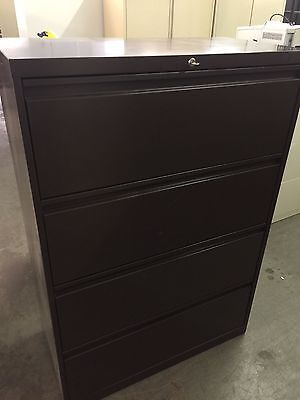 4dr 36w Lateral Size File Cabinet In Brown Color W Lock Key Pick Up Only