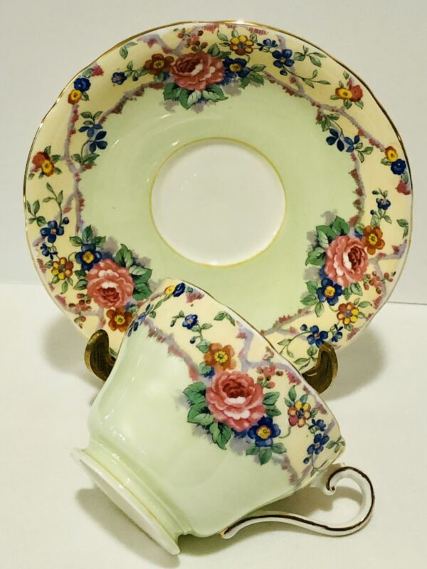 Aynsley Cup & Saucer Pink Rose Mint Green Yellow Vine Floral; England Teacup