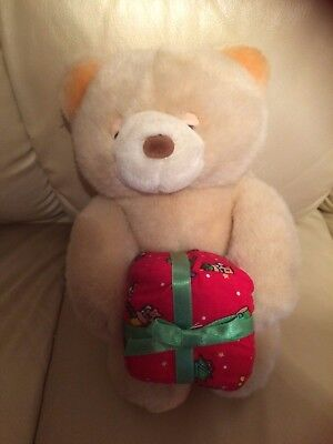 """Vintage Jade soft toy bear with Christmas parcel,beige 10"""" tall, plastic eyes"""