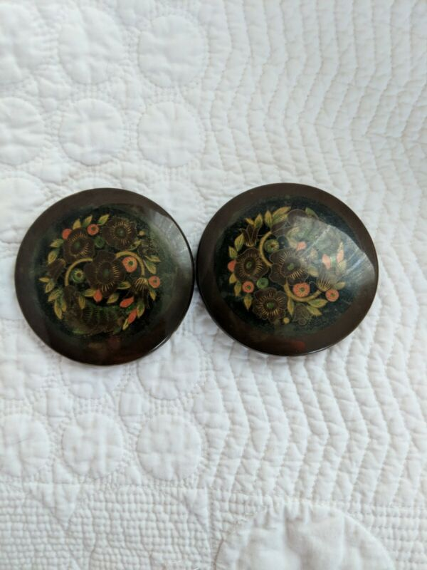 Vintage Large Celluloid Shoe Buckles Brown with Orange Green Flowers