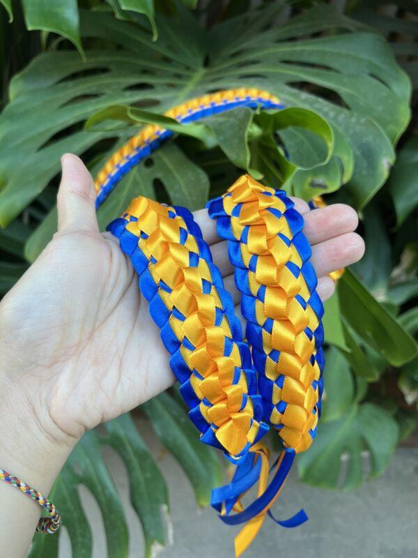 Gold & Royal Blue Satin Ribbon Graduation Open Lei (Custom orders available)