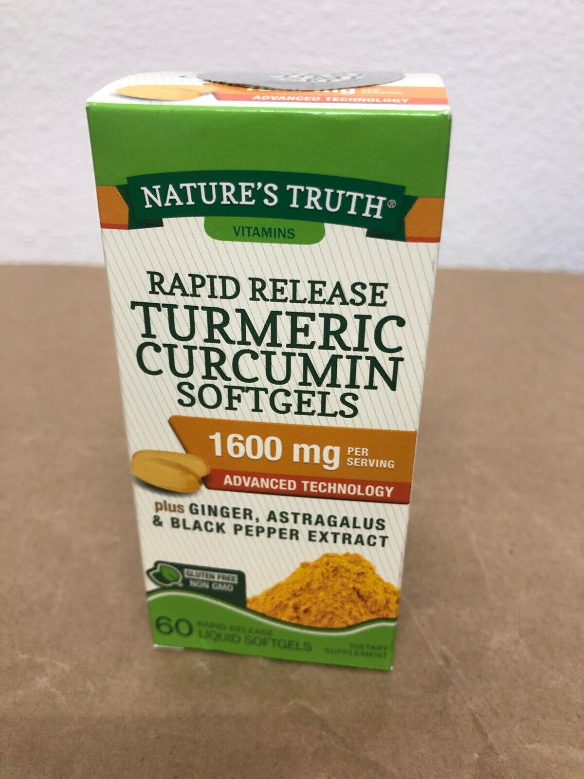 Natures Truth Turmeric Curcumin 1600Mg 60 Liquid Softgels Ea