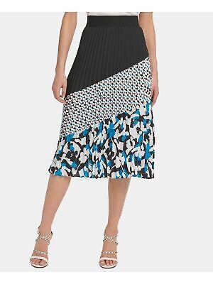 DKNY $89 Womens New Black Color Block Midi Pleated Wear To Work Skirt M B+B