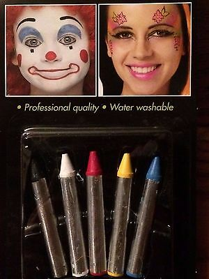 Halloween Makeup Festive Ten (10) Crayons Black White Red Yellow Blue WASHABLE