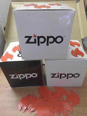 3 Zippo Deko Boxen + 30 rote Zippo Flammen + Anleitung leichter Zusammenbau