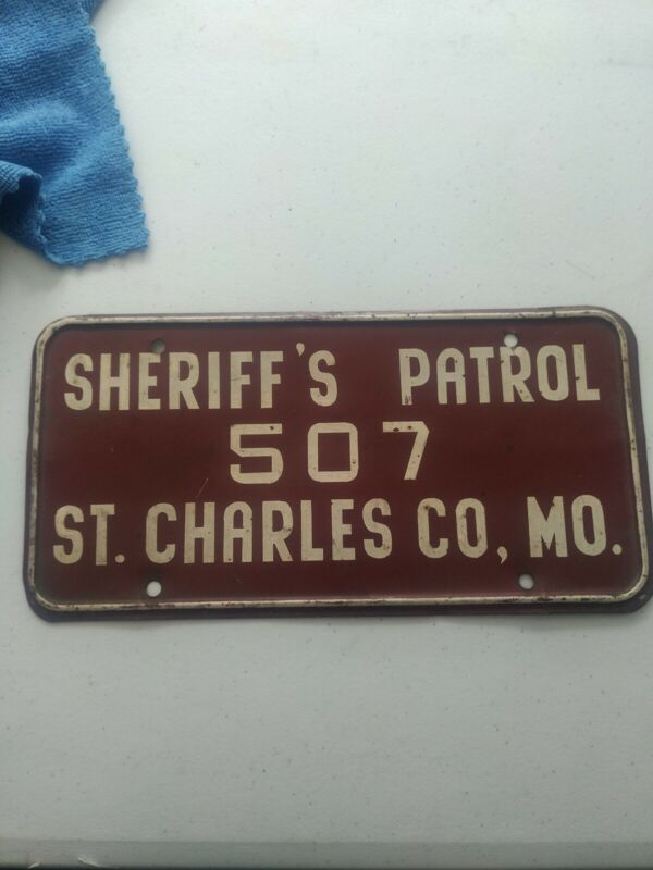 Vintage St. Charles County Sheriff License Plate possibly hand painted