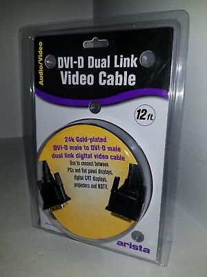 Arista 24 Pin Gold Plated  DVI-D to DVI-D Cable Dual Link Male Video Cable Q9 Arista Cable Video Cable