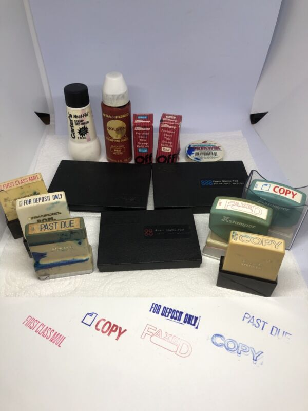 Big Lot of vintage Office Self-Inking Rubber Stamps & Ink