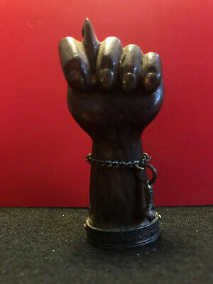 - Wood Carved Hand with 900 Silver accents 1862g tw Left Hand Mano Figa