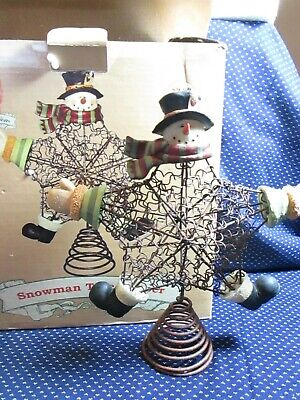 Christmas Traditions Rustic Metal Snowman Star Tree Topper