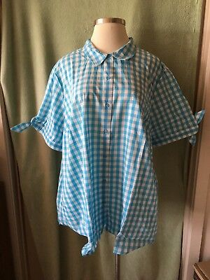 Roamans Ss Lightweight Cotton Poly Blouse Blue   White Gingham 32W 4X 5X New