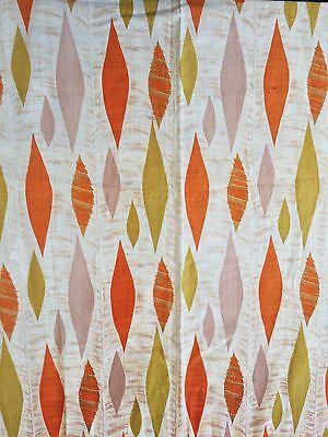 Stunning Mid Century Vintage Barkcloth Curtain Fabric 1950 Leaf Design