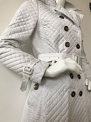 100% Authentic Burberry Prorsum White Classic Trench Quilted Coat Mac Size 8 Quilted Trench