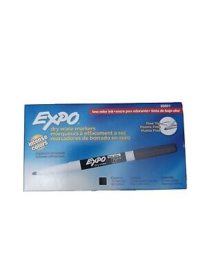 Expo 86001 Dry Erase Marker Fine Point - 12 Pieces Black Low Odor