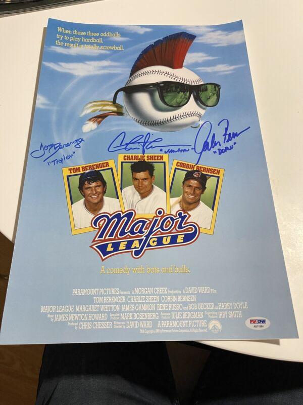 Charlie Sheen Berenger & Bernsen Signed Major League 11x17 Mini Poster Psa Loa