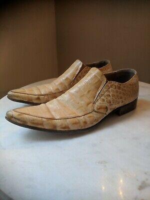 Jo Ghost Retro 'Winklepicker' Shoes. Pale Gold Tan. Crocodile Skin. Italian. 45