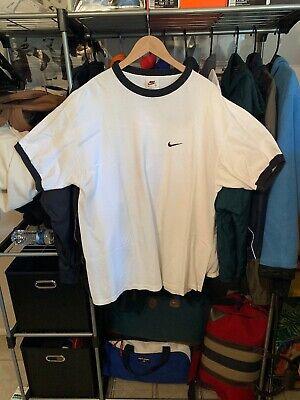 Vtg 90s Nike Air Swoosh White Tag Made In USA Ringer T Shirt